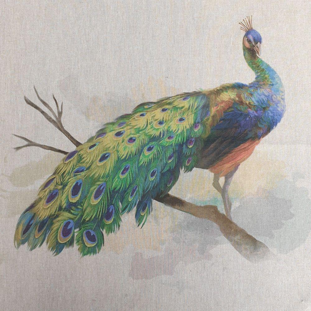 Pop Art Linen Look Cotton Canvas Panel Peacock