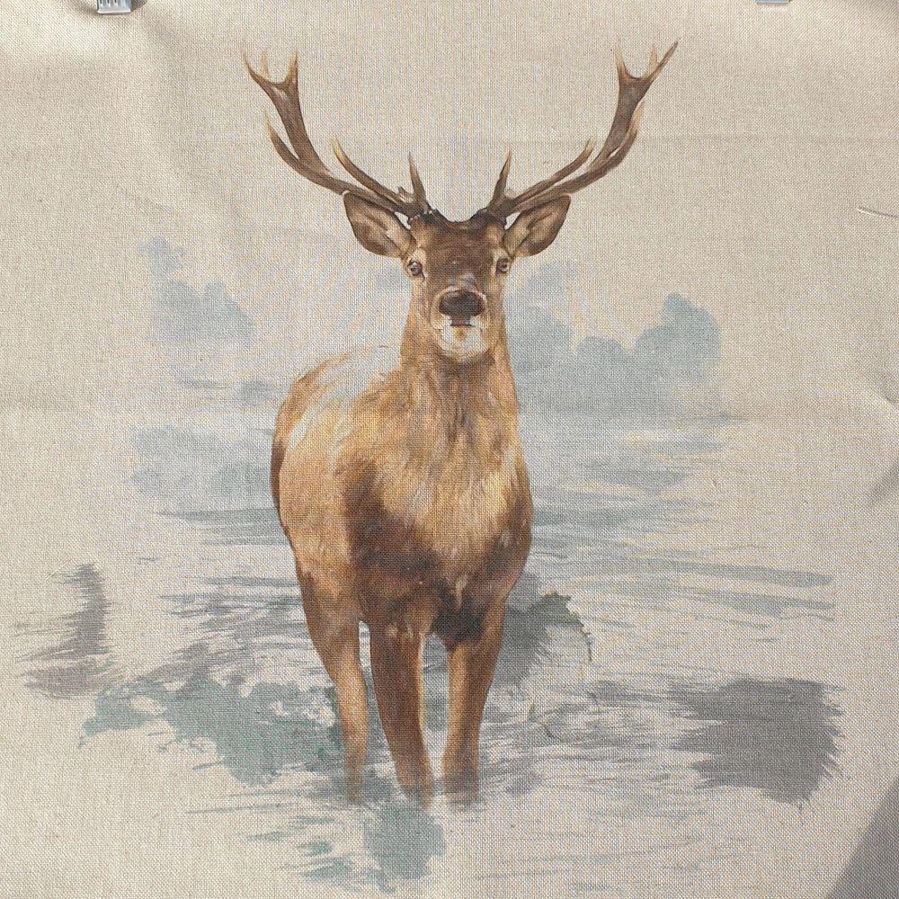 Pop Art Linen Look Cotton Canvas Panel Stag
