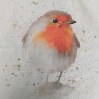 Pop Art Linen Look Cotton Canvas Panel Robin