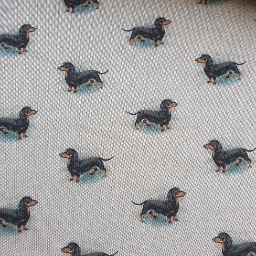 Pop Art Linen Look Cotton Canvas Fabric Dachshund