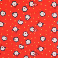 Christmas Cotton Jersey Fabric Penguins Red