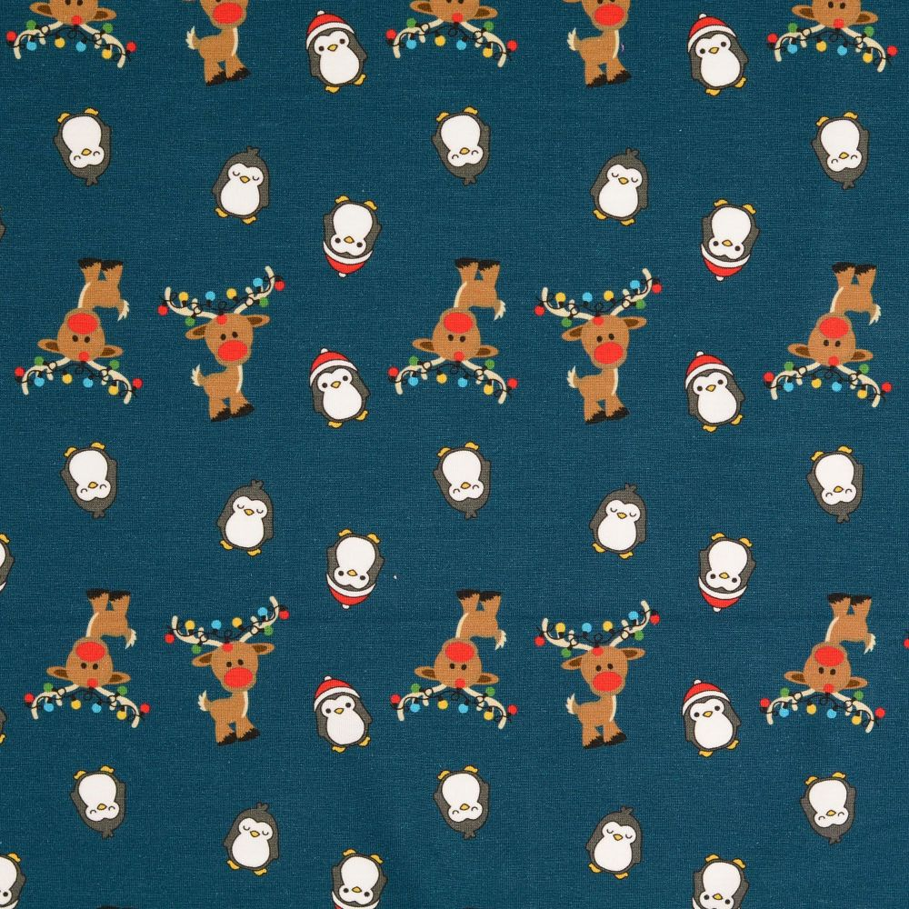 Christmas Cotton Jersey Fabric Reindeer & Penguins Navy
