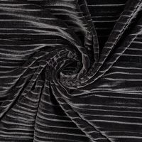 Stretch Pleated Velvet Fabric Black