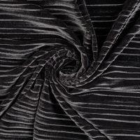 Stretch Pleated Velvet Fabric Black