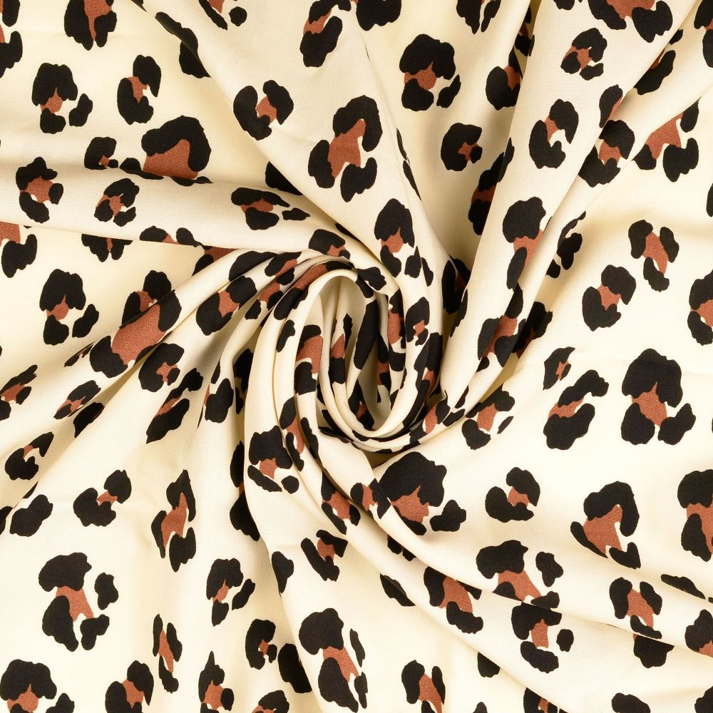 Viscose Fabric Leopard Print Cream