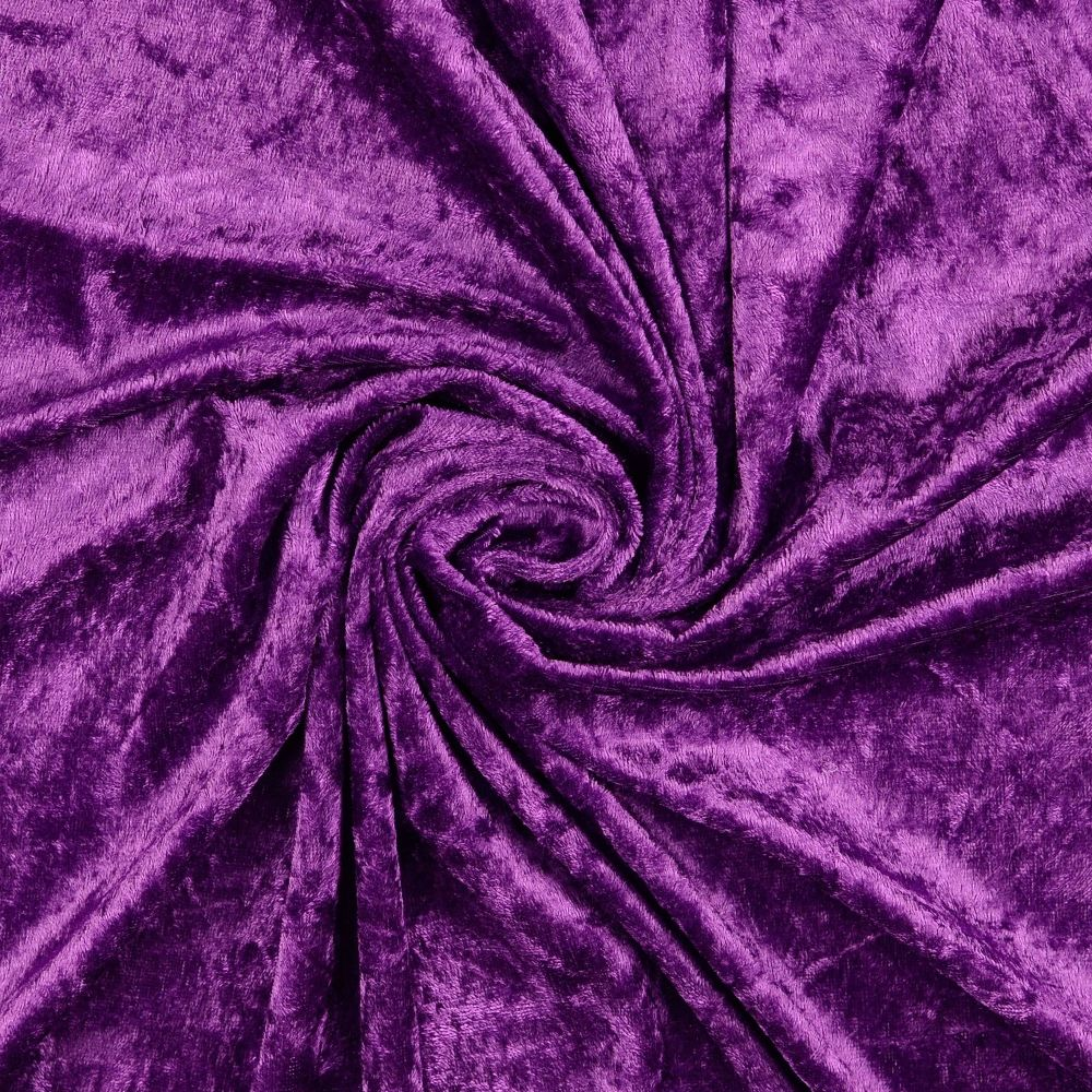 Crushed Velour Fabric Purple
