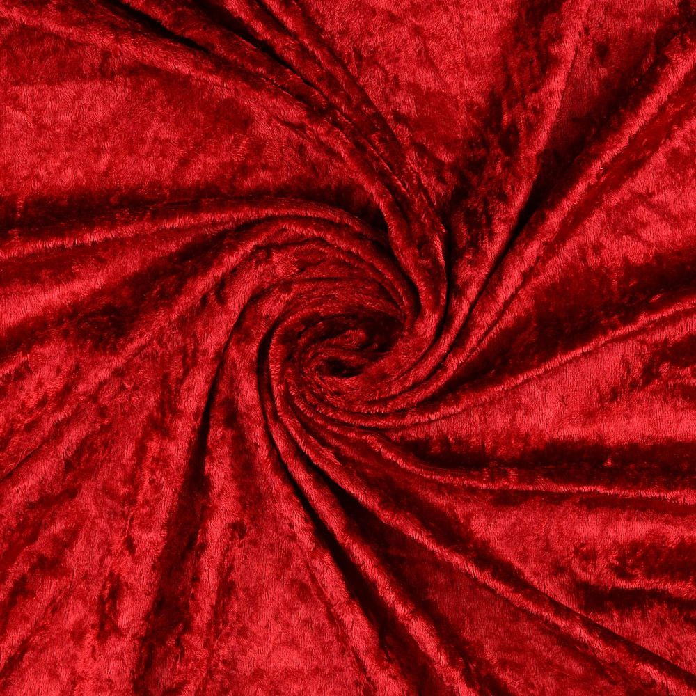 Crushed Velour Fabric Red