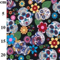 Cotton Poplin Fabric Sugar Skulls Black