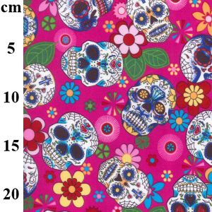 Cotton Poplin Fabric Sugar Skulls Pink