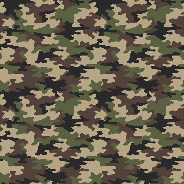 Cotton Poplin Fabric Camo Green