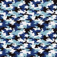 Cotton Poplin Fabric Camo Blue