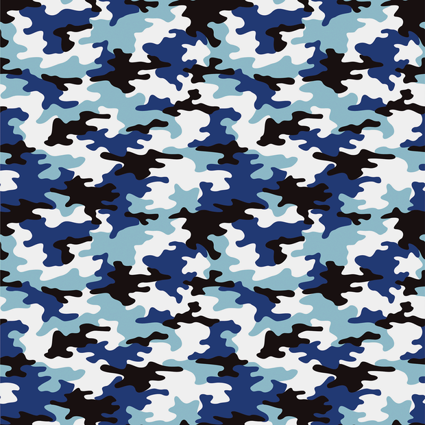 Cotton Poplin Fabric Camo Blue