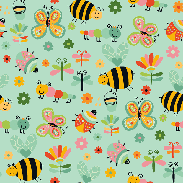 Cotton Poplin Fabric Bugs & Bees Green