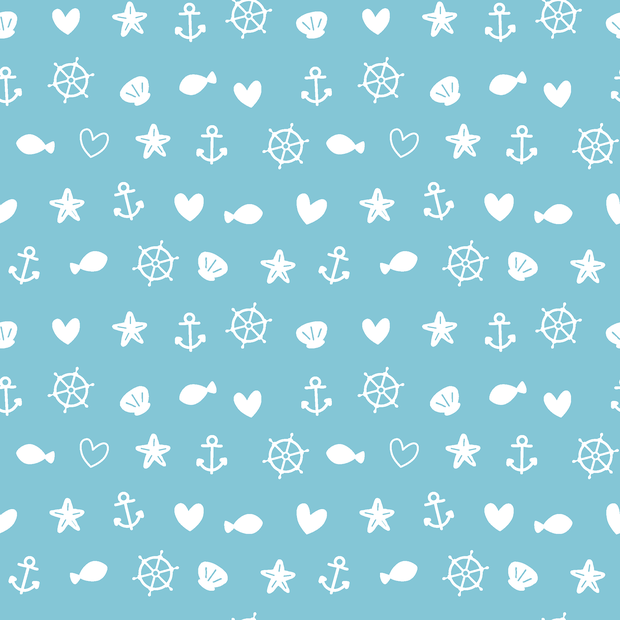 Cotton Poplin Fabric Nautical Shells