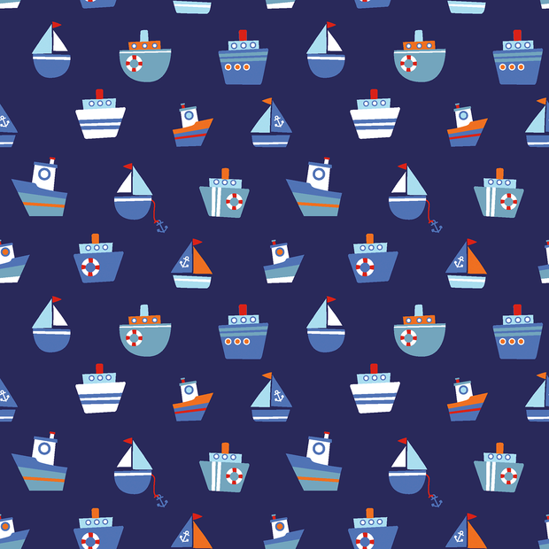 Cotton Poplin Fabric Nautical Sailing Boats