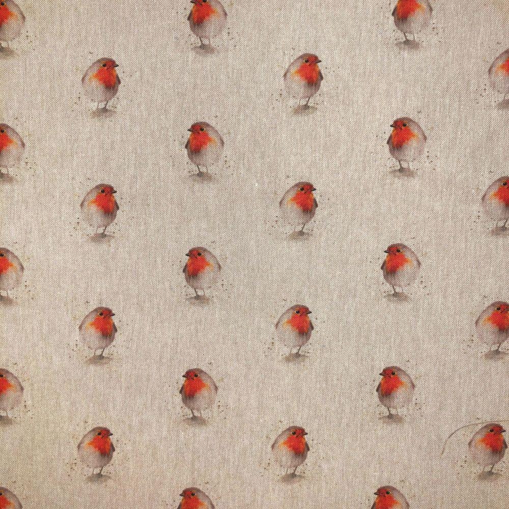 Pop Art Linen Look Cotton Canvas Fabric Robin New