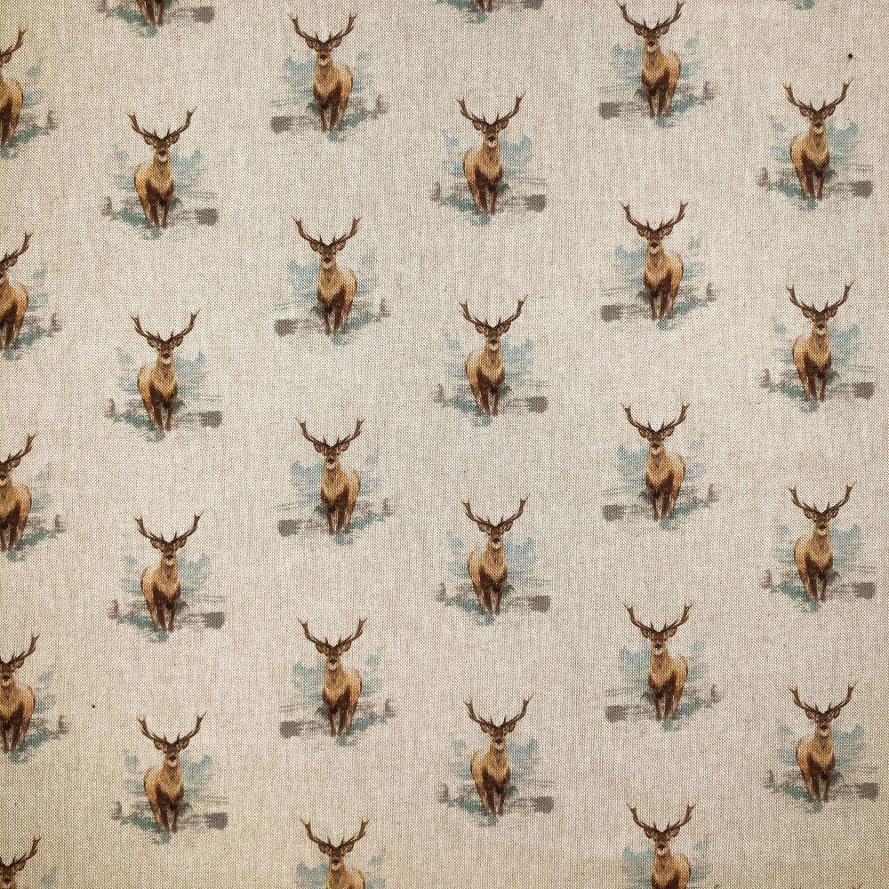 Pop Art Linen Look Cotton Canvas Fabric Stag