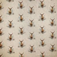 Pop Art Linen Look Cotton Canvas Fabric Stag