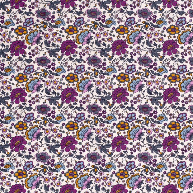 Cotton Poplin Fabric Purple Flowers