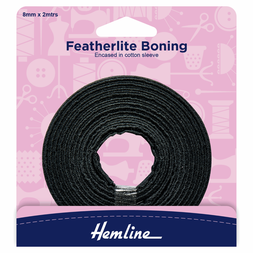 Hemline Black Boning 8mm
