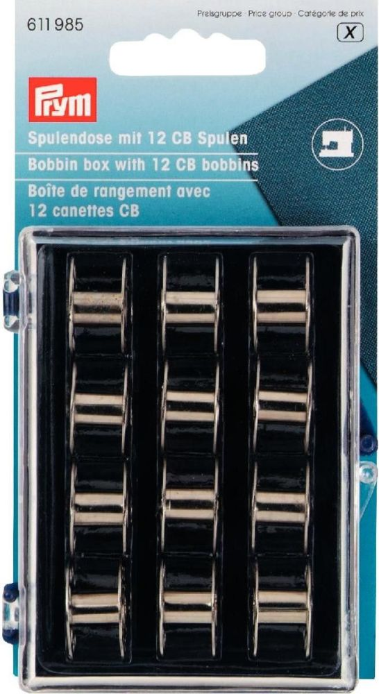 Prym Bobbin Case Filled with 12 CB Metal Bobbins