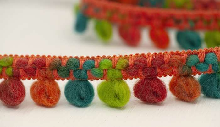 Bohemian Loop Pom-Pom Trim Orange/Green