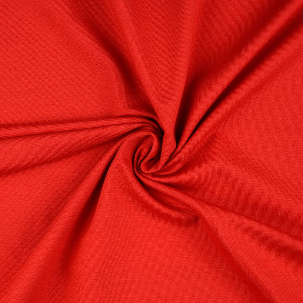 French Terry Plain Fabric Red