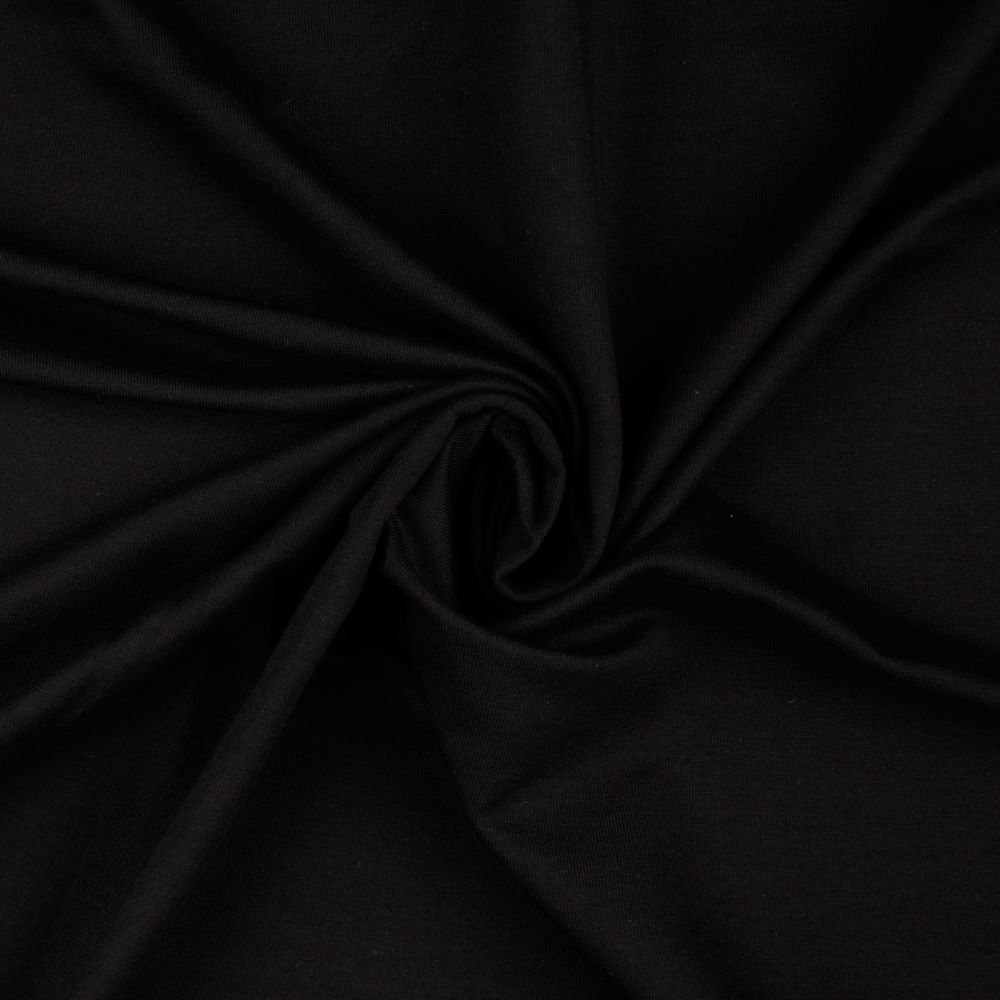 French Terry Plain Fabric Black