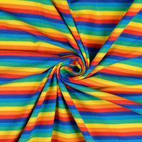 Cotton Jersey Fabric Stripes Bright