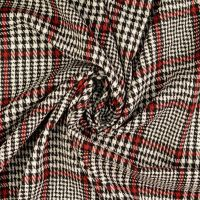 Stretch Knit Check Fabric Red