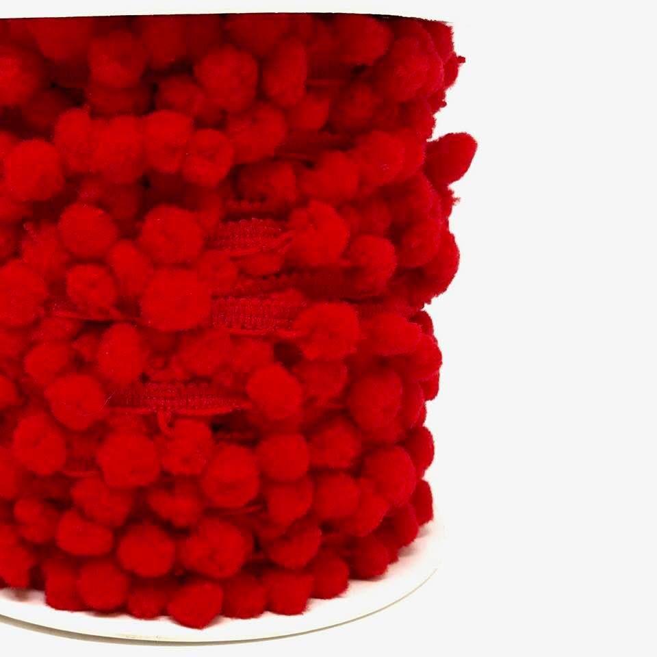 10mm Red Pom-Pom Trim