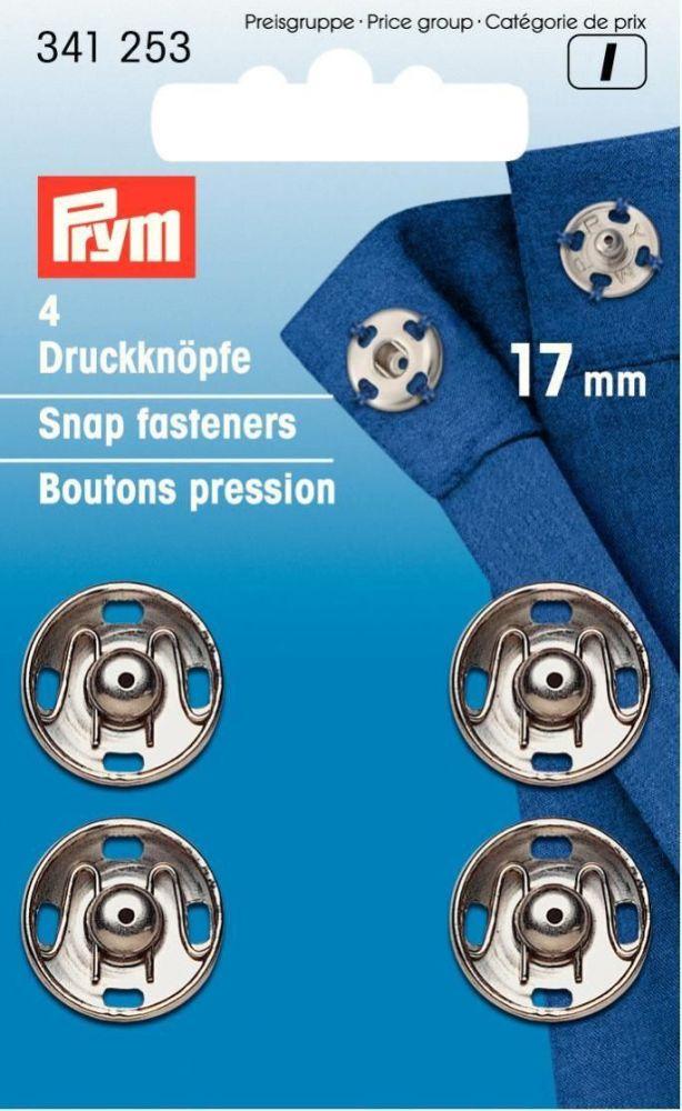 Prym Sew-on Snap Fasteners Silver 17mm