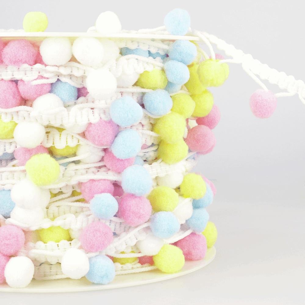 Multi Coloured Pom-Pom Trim 25mm Pink/Blue/Lemon