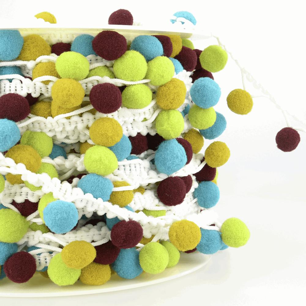 Multi Coloured Pom-Pom Trim 25mm Teal/Moss