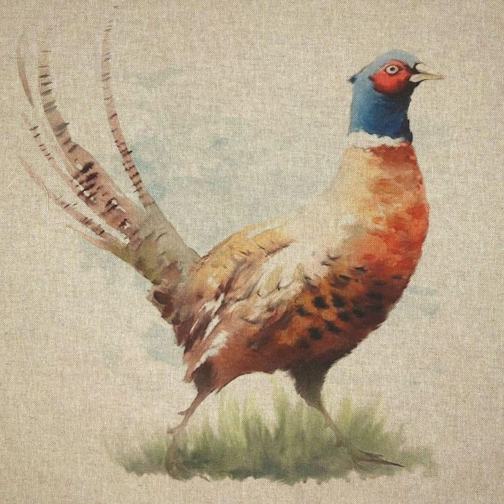 Pop Art Linen Look Cotton Canvas Panel Pheasant