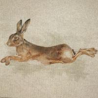 Pop Art Linen Look Cotton Canvas Panel Hare