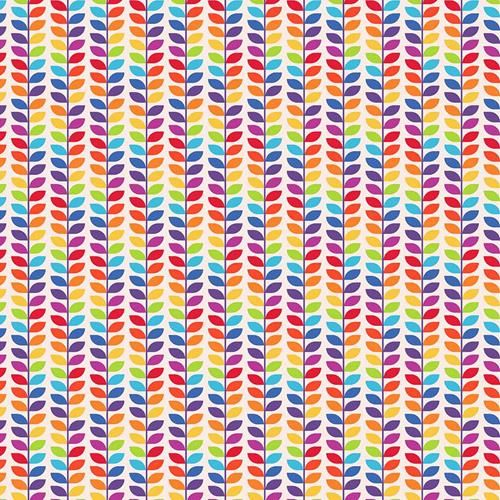 Cotton Fabric Rainbow Leaves