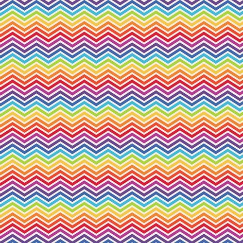 Cotton Fabric Rainbow Zig Zag