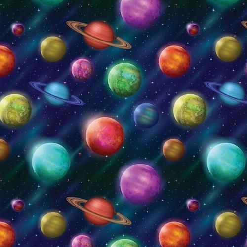 Cotton Fabric Space Planets