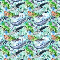Cotton Fabric Sealife Whales