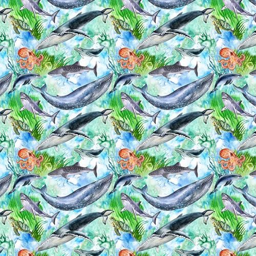Cotton Fabric Sealife Whales