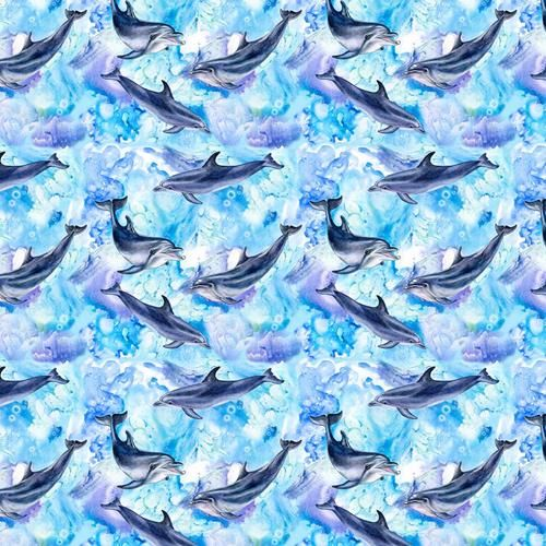 Cotton Fabric Sealife Dophins