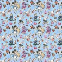 Cotton Fabric Alice In Wonderland Blue