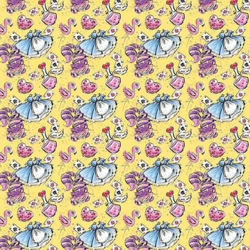 Cotton Fabric Alice In Wonderland Yellow