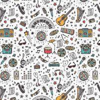 Cotton Fabric School Days Music