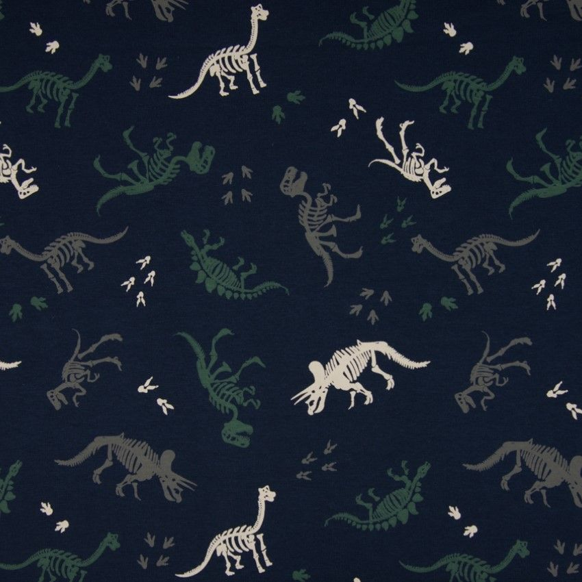 Cotton Jersey Fabric Skeleton Dino