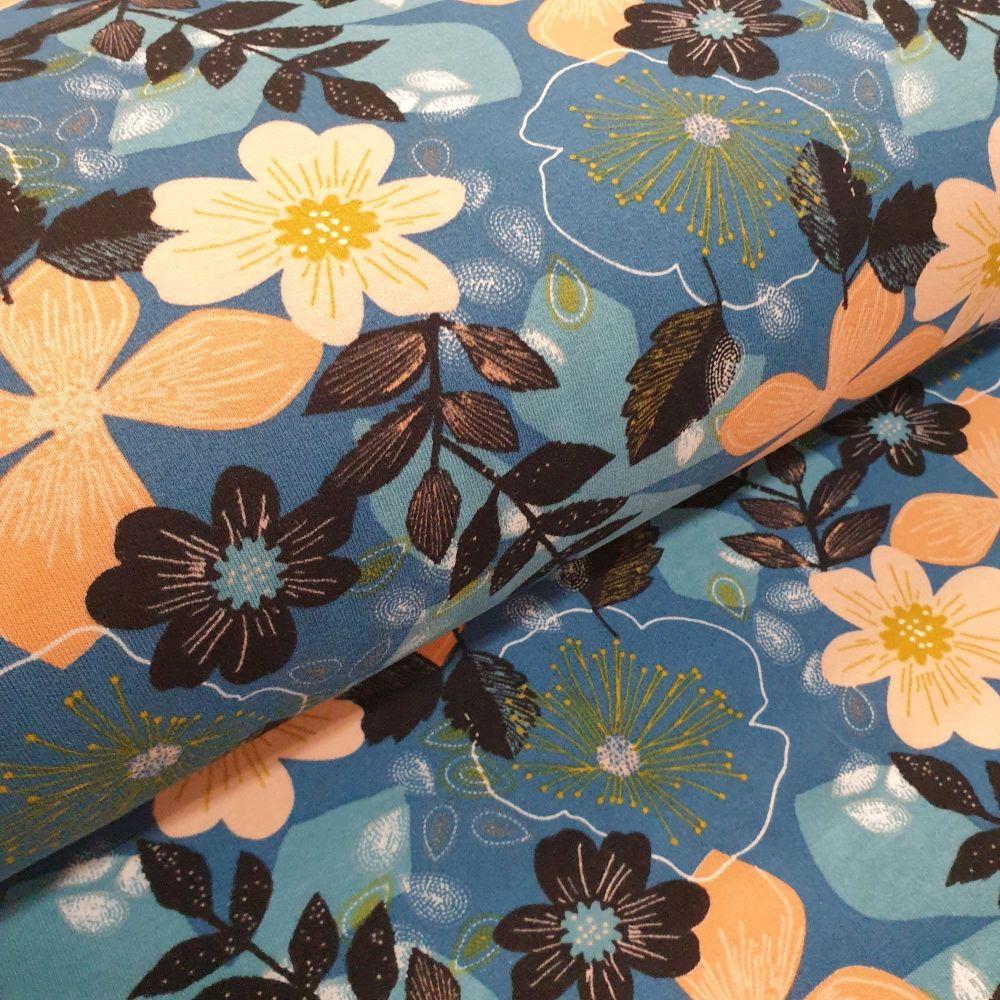Soft Sweat GOTS Fabric Flowers Blue