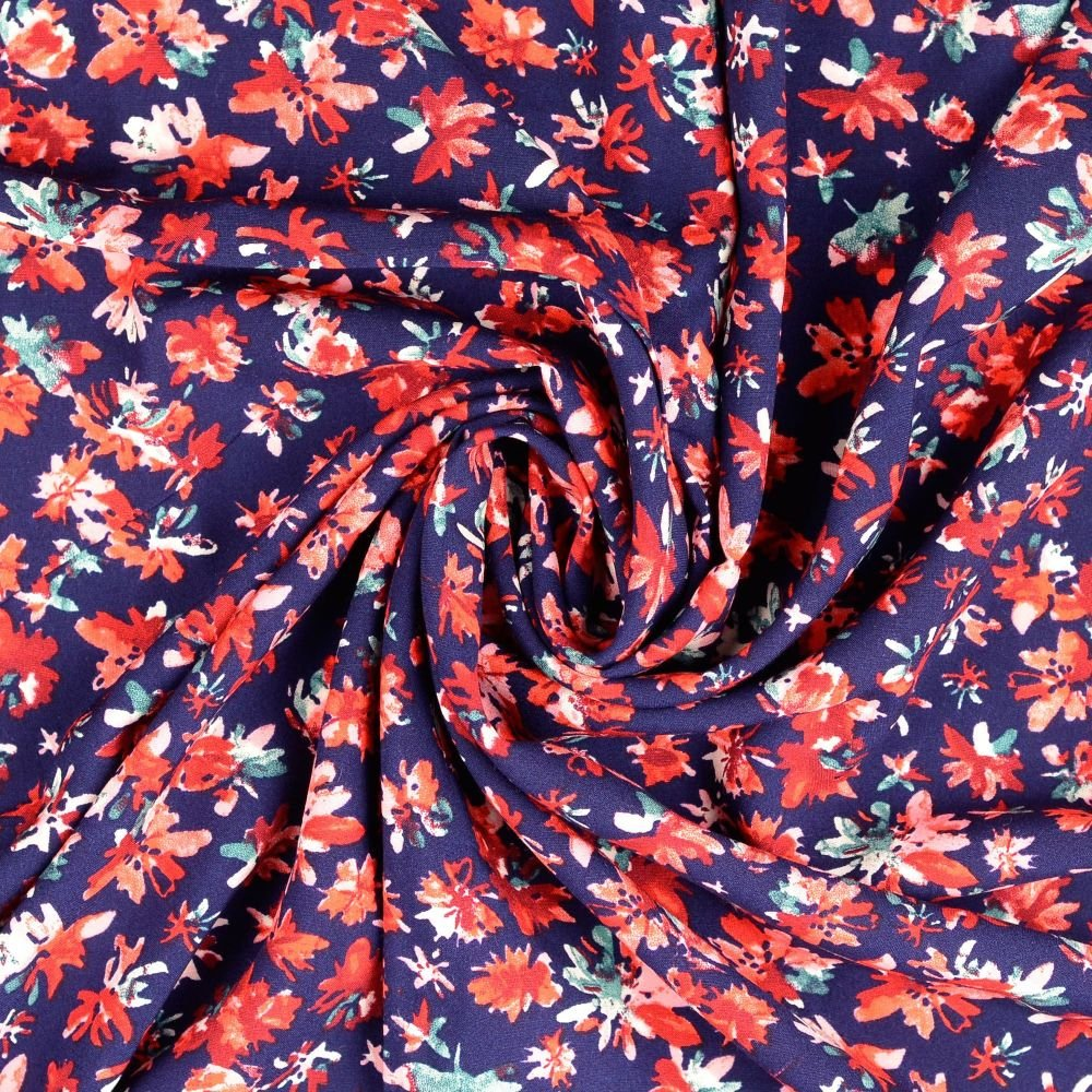 Viscose Fabric Flowers Navy