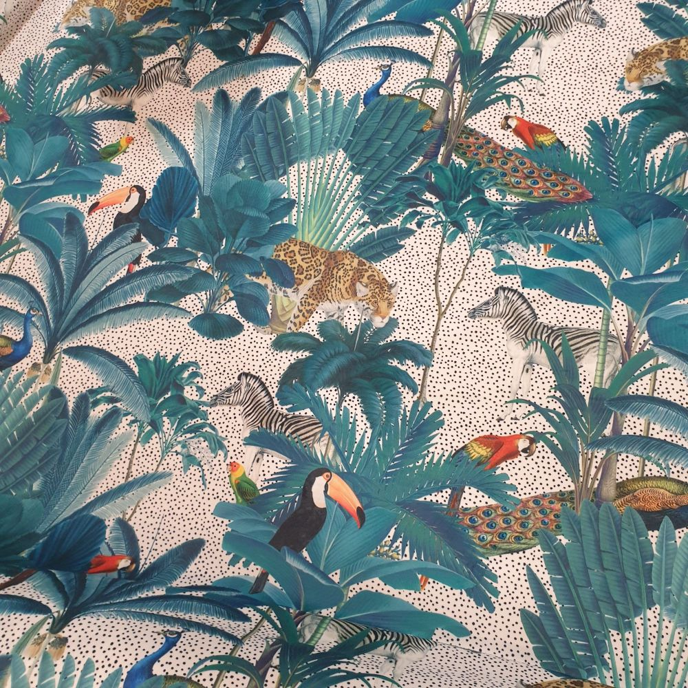 Luxury Velvet Fabric Jungle Natural