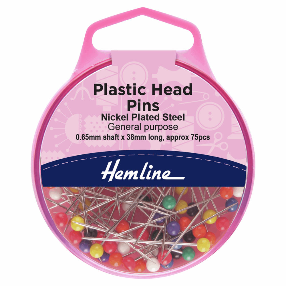 Hemline Plasic Coloured Head Pins 38mm 75pcs
